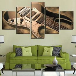 Music Canvas Prints Australia - HD Prints Canvas Painting Framework 5 Pieces Electric Guitar Pictures Vintage Music Instrument Poster Living Room Decor Wall Art