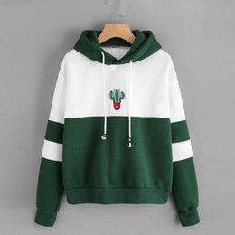 0e8180930b4f Women Cactus Hoodie Autumn 2018 New Long Sleeve Sweatshirt Patchwork  Drawstring Hooded Pullover  L
