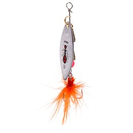 Fishing Lures Spinners Spoons UK - 6g Fishing Lure Metal Spinner Spoon Bait Bass Tackle 6# Hook Sequin With Feather