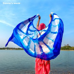 Wholesale PureSsilk Tie Dye Transport FreeFfloral Silk Belly Dance Veil cm Hand Throw Shawl Scarf Colorful Blue Rose To Free Transport