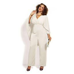 cdc4a1f8f0 Wholesale- G L 2016 plus size XL XXL XXXL XXXXL Summer style women shawl  cappa V-Neck chiffon casual jumpsuit rompers playsuit overalls