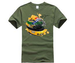 Discount green signature - Ayrton Senna Helmet T-Shirt Tops 1 Race Car Watercolor Men 100% Cotton Short Sleeve Tee Shirt Signature Man T Shirt