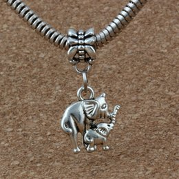 Metal sliders online shopping - MIC Antiqued Silver Elephant Mom And Baby Dangles Beads Fit European Charm Bracelet Jewelry DIY Metal x27 mm A a