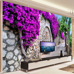 Small Mould NZ - Custom Photo Wallpaper European Small Town Street Purple Flower Wall Painting Pictures Living Room TV Background Wallpaper Mural