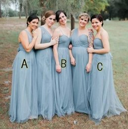 36cc2fc9701b 2018 Cheap Dusty Blue Bohemian Bridesmaids Dresses A Line Floor Length  Drapped Chiffon Boho Beach Wedding Guest Party Gowns
