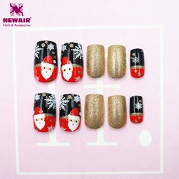 $enCountryForm.capitalKeyWord Canada - 24pc Box Christmas False Nails with Adhesive Tapes Santa Xmas Snowflake Full Cover Fake Nail Art Tips Christmas Gift Decorations