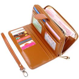 $enCountryForm.capitalKeyWord UK - Long Clutch Wallet Female Oil Wax PU Leather Mobile Phone Bag Zipper Purse Pouch Case Portable Handbag For iPhone Samsung EEMIA