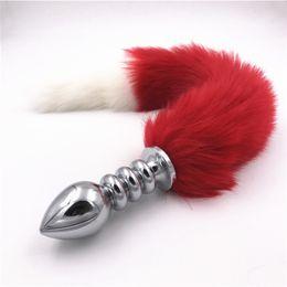 $enCountryForm.capitalKeyWord NZ - Sexy Toys Anal Stopper Stainless Steel Fake Fur Fox Tail Anal Plug Butt Plug Flirt Anus Dilators Anal Sex Toys for Women H8-101E Y1893002