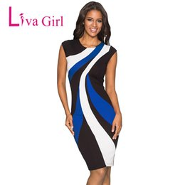 91d34c2bd163 LIVA GIRL Formal Office Work Wear Pencil Dresses Elegant Striped Patchwork Length  Dresses Business O Neck Party Bodycon Vestidos