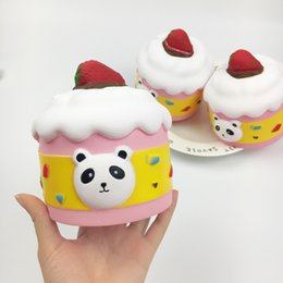 stress relieving gifts Canada - Squishy Panda Strawberry Cake Jumbo 13cm Slow Rising Bread Relieve Stress Cake Kawaii Food Phone Strap Phone Pendant Key Chain Toy Gift