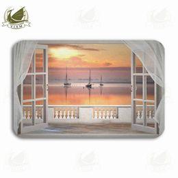 $enCountryForm.capitalKeyWord NZ - Vixm Scenic Sea Sunset Outside The Window Welcome Door Mat Rugs Flannel Anti-slip Entrance Indoor Kitchen Bath Carpet
