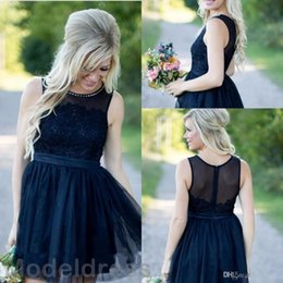 short lengths NZ - 2018 Country Short Bridesmaid Dresses Dark Navy Knee Length Beach Scoop Cheap Wedding Guest Gowns Plus Size Maid Of The Honor Summer