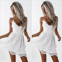 387a31dd5e35 2018 summer new hot ladies strap lace dress fashion sexy V-neck black white dress  dress wholesale and retail