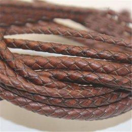 $enCountryForm.capitalKeyWord Australia - 1m lot 3mm 4mm 5mm Round Braided Genuine Leather Cord Coffee Cow Leather Cords String Rope Bracelet Findings Diy Jewelry Making