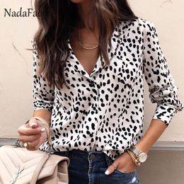 e143e56043 Nadafair Turn Down Collar Animal Print Leopard Blouse Women Long Sleeve  Slim Leopard Shirt Womens Tops And Blouses