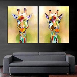 Multi Set Canvas Prints Australia - 2P Set High Quality Handpainted HD Print Modern Abstract Animal Art Oil Painting Cute Cartoon Giraffe Come Deco On Canvas Multi sizes a82