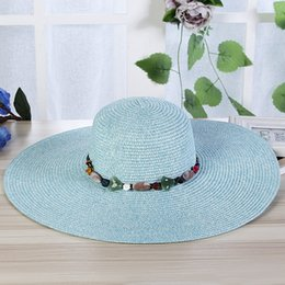$enCountryForm.capitalKeyWord Australia - Myelo Hot Sale Fashion Wide Large Brim Sun Hats For Women HandMade Colorful Stones Beads Straw Hat Summer Beach Sun Shade Caps