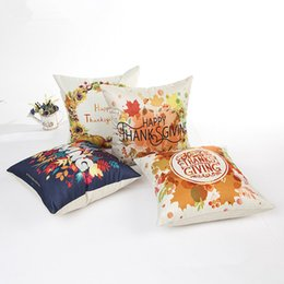 Wholesale Thanks Giving Style Cotton Linen Cushion Cover Fruit Flower Printed Pillow Case For Sofa Car Home Decorative