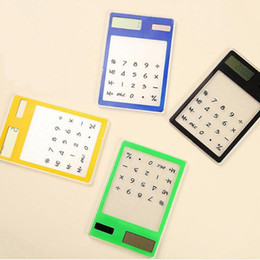 China Solar Calculator Creative Stationery Cute Mini Hand Held Ultra Thin Portable Calculators Solar Power Transparent Touch Screen ZA5572 supplier world stationery suppliers