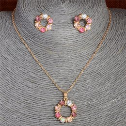 wholesale pendant sets NZ - Atreus Newest 1Set Multi-colored Round Circle Shape Design Welcome Fine Jewelry Pendant Necklace Earrings Jewelry Set