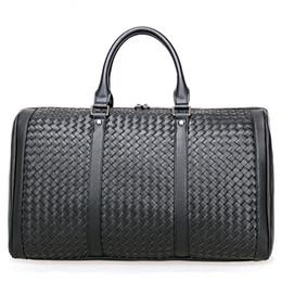 $enCountryForm.capitalKeyWord NZ - 100% Cowhide Weaving Genuine Leather Men Travel Bag Real Leather Duffle Shoulder Bags Big Luggage Carry On Overnight Handbag Laptop Tote