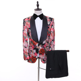 Beautiful Flower Suits Men's two-piece Korean Version Fashion Fit Slim Suit Dress Groom Ball Party Dress Singers Stage Costumes