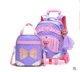 Children sChool trolley bags online shopping - Student School Bag On wheels Children luggage Rolling Bags wheeled Backpacks bag for Girls Travel Trolley backpack bags for kid