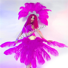 sexy dancing cloth UK - DC42 Ballroom dance costumes sexy feather women dresses bikini Samba stage show wears catwalk models performance cloth party bar nightclub