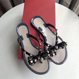 Jelly flat bow shoes online shopping - Summer Jelly Color Luxury BRAND Women Flip Flops Slippers Flat Sandals Bow Rivet Fashion Pvc Crystal Beach Shoes original box