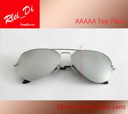 90e805d800f AAAAA Pilot Glass Lens Sunglasses Womens Men Sunglasses Eyeglass UV400 Metal  Frame Mixed 58MM 62MM Mercury Mirror Eyewear With Case and Box