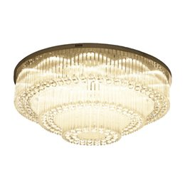 light fixtures for high ceilings 2019 - Luxurious Modern Crystal Chandelier Round high-end K9 Crystal ceiling Light Fixtures for living room dining room