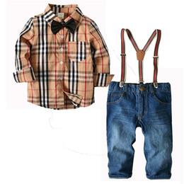 Jeans kids suspenders boys online shopping - Boys Clothing Sets Cotton Gentleman best long sleeve shirt Jeans suspender trousers Children Suit kids clothing Child Clothes A2212