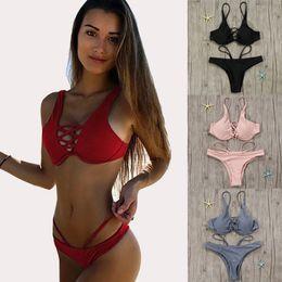 Bra Bikini Top Swimwear Canada - Women Sexy Push-Up Bikini Set Swimwear Criss Cross Underwire Bra Bikini Top Beachwear Strappy Biquini Beach Swimming Suit XYJH0215