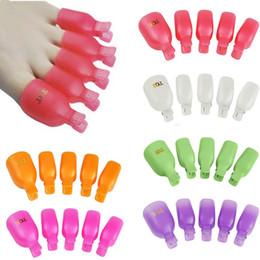 toe nail polish art 2019 - New 5Pcs Plastic Foot Toe Nail Art Soak Off Cap Clip UV Gel Polish Remover Wrap Tool H7JP cheap toe nail polish art