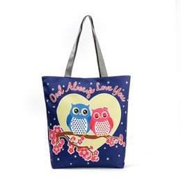 white shoulder bags UK - Cute Owl Printed Beach Bag Female Floral Canvas Casual Tote Ladies Shopping Bags Daily Use Single Shoulder Bag Bolsa