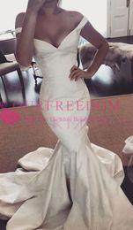 $enCountryForm.capitalKeyWord NZ - 2019 Gorgeous V Neck Mermaid Wedding Dresses Off The Shoulder Taffeta Sweep Train Bridal Gown Custom Made