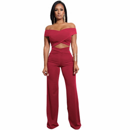 4271ab11f84 2018 Off Shoulder Bandage Jumpsuit Strapless Criss Cross Hollow Out Wide  Leg Women Rompers Sexy Club Party Jumpsuits Overalls