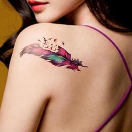 $enCountryForm.capitalKeyWord NZ - Waterproof Temporary Tattoo Sticker colorful feather tattoo fly birds small size girl tatto stickers flash tatoo fake tattoos