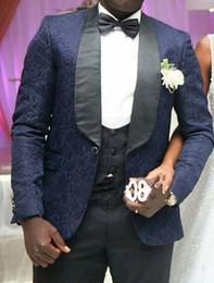 $enCountryForm.capitalKeyWord Canada - New Stylish Design One Button Navy Blue Groom Tuxedos Shawl Lapel Groomsmen Best Man Suits Mens Wedding Suits (Jacket+Pants+Vest+Tie) 590