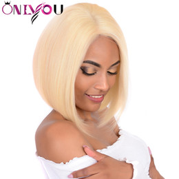 Discount black blonde human hair - 14 Inch 613 Blonde Short Bob Wigs For Black Women Lace Front Human Hair Wigs Straight Brazilian Hair Lace Front Wigs 130