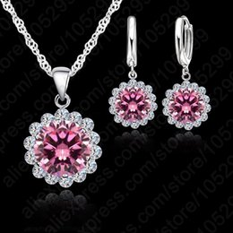 $enCountryForm.capitalKeyWord Australia - JEXXI Wholesale Price Wedding Jewelry Set 925 Pure Silver Cubic Zircon Necklace Pendant Earrings Fashionable Women Set