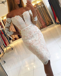 $enCountryForm.capitalKeyWord Australia - 2018 Sexy Off the Shoulder Short Cocktail Dresses With Illison Long sleeves Lace Appliques Evening Gowns with Beaded Prom Party Dresses