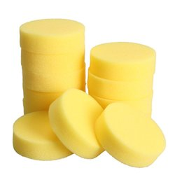 China 12PCS Wax sponges Round Car Polish Sponge Car Wax Foam Sponges Applicator Pads for Clean Car Care Tool Glass Yellow suppliers