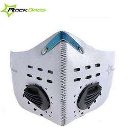 neoprene cycling filter mask 2019 - Rockbros Bike Cycling Anti-dust Half Face Mask with Filter Neoprene Wind Stopper Sports Masks For Bicyle Motor Cycle 5Co