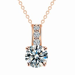 "$enCountryForm.capitalKeyWord NZ - Gold Color Dazzling Zircon Necklace Simple crystal Pendant Necklace Jewelry With 17"" Link Chain For Women Wedding Party Gift"
