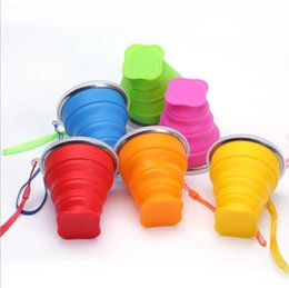 retractable water bottle Australia - 200ml 4.5*9cm*8cm Portable Travel Cups Silicone Retractable Folding Water Bottle with Lids Telescopic Collapsible Drinkware 6 colors