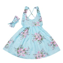 8b9efe799652 Baby Girls Dress Brand Summer Beach Style Floral Print Party Backless  Dresses For Girls Vintage Toddler Girl Clothing 1-7Yrs