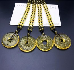 Chain Hairs NZ - Citrine Ruyi Ping Pendant Necklace Longfeng Chengxiang Auspicious Topaz Glass Peace Buckle Sweater Chain Necklace - Random Hair