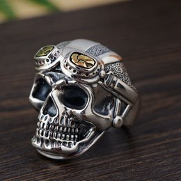 skull ring mix 2019 - FNJ 925 Silver Skull Ring Skeleton Original Pure S925 Sterling Thai Silver Rings for Men Jewelry Adjustable Size cheap s