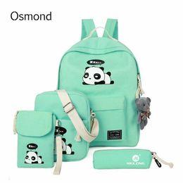 $enCountryForm.capitalKeyWord NZ - 4pcs set Cute Panda Printing Backpack Canvas School bags Teenagbag Girls Cartoon Rucksack Children Back Pack Pencil Cases
